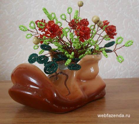 Давайте попробуем вырастить куст розы из бисера в старом башмаке.  Конечно, не любой растоптанный ботинок подойдет...